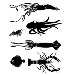 Collection of icons of sea inhabitants vector image vector image