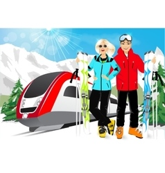 happy couple skiers in mountain resort vector image