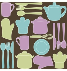 Kitchen utensils - seamless pattern vector image