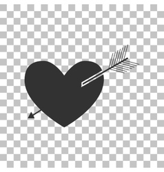 Arrow heart sign Dark gray icon on transparent vector image vector image