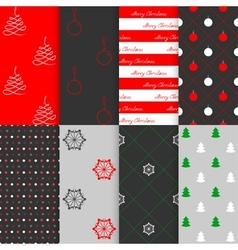 Christmas and New Year seamless pattern set vector image