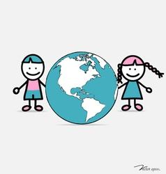 Cute children and globe vector