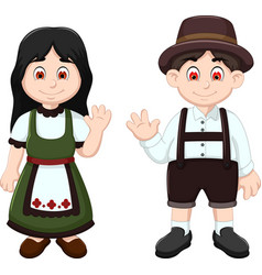 Cute couple german waving in national clothes vector