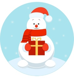 Happy snowman with a gift vector image vector image