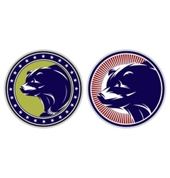 set of sport badges with bears vector image