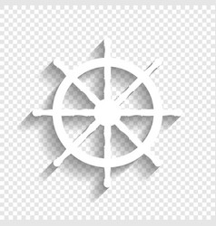 ship wheel sign white icon with soft vector image