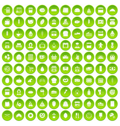 100 bakery icons set green circle vector