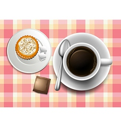 A topview of a table with a coffee cookie and a vector