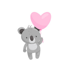 adorable koala with bright pink heart-shaped vector image