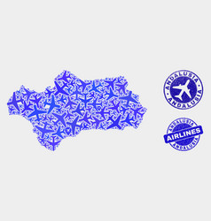 Airline composition andalusia province map vector