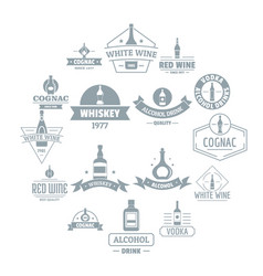 alcohol logo icons set simple style vector image