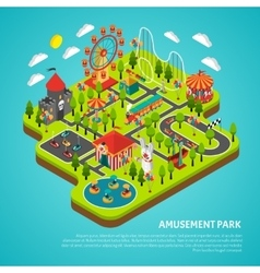 Amusement park attractions fairground isometric vector