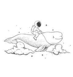 Astronaut flying on a beluga vector