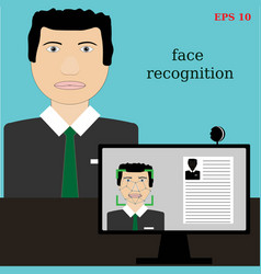 biometric verification - young man face recognitio vector image