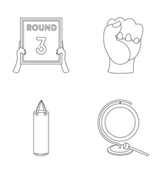 Boxing sport round hand boxing set collection vector