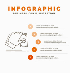 business hand money earn dollar infographics vector image