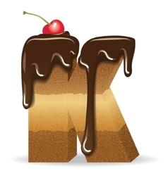 Cake letter K- birthday font vector