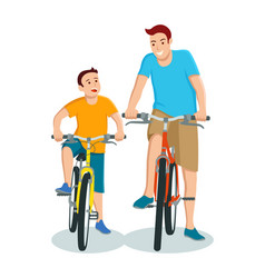 Cartoon father and son riding bicycle vector