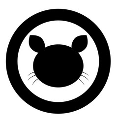 cat head icon black color in circle vector image