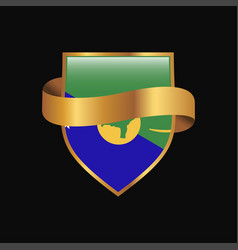 Christmas island flag golden badge design vector