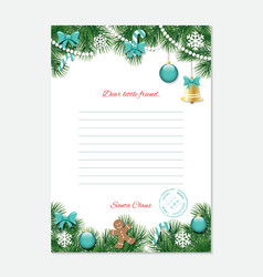 Christmas letter from Santa Claus template A4 vector