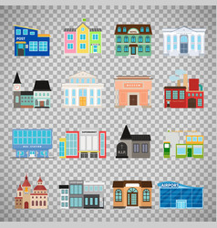 City buildings icons on transparent background vector
