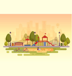 City park with playground sunset background city vector