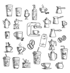 Coffee cups beans grinder and pots vector image