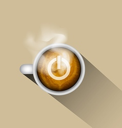 Coffee with power on icon vector