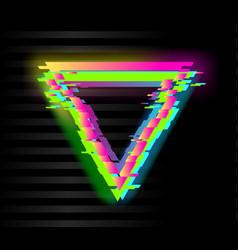 colorful glitch triangle geometric shape frame vector image