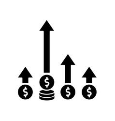 Competitive edge black glyph icon market vector