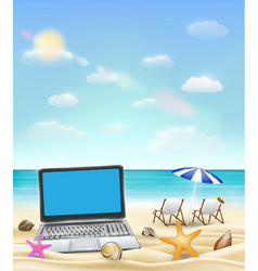 computer laptop on a sand beach with beach chair vector image