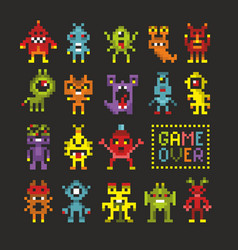 Cool set of 8 bit monsters vector