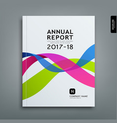 Cover annual report colorful ribbon design vector