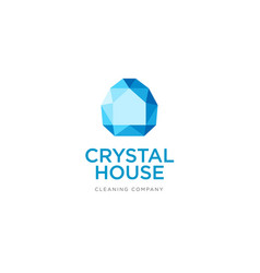 crystal logo silhouette house identity vector image