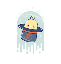 Cute magic rabbit in the hat vector