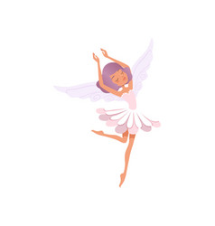Dancing fairy girl with purple hair wearing flower vector