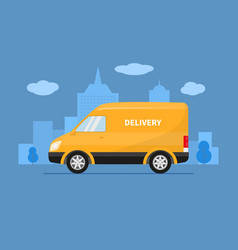 delivery truck van rides on background city vector image