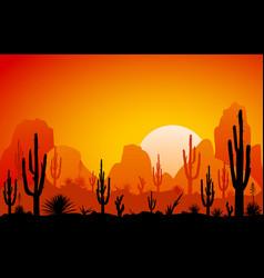 Desert the sunset vector
