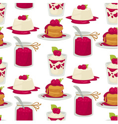 Desserts raspberry dishes cake and jam yoghourt vector