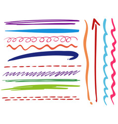 doodle lines in different styles vector image