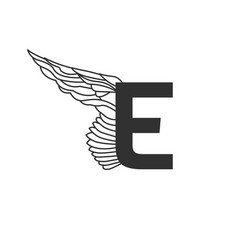 elegant dynamic letter e with wing linear design vector image
