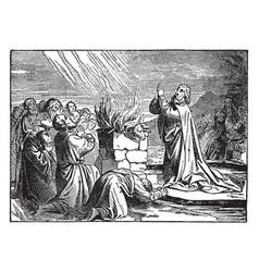 Elijah praying to god to set fire to his altar vector