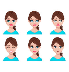 face expressions of woman in blue blouse vector image