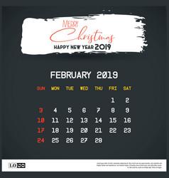 february 2019 new year calendar template brush vector image