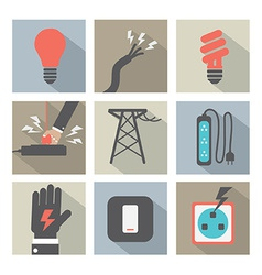 Flat Design Electricity Power Icons Set vector image