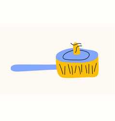 frying pan cartoon doodle stock icon in flat vector image