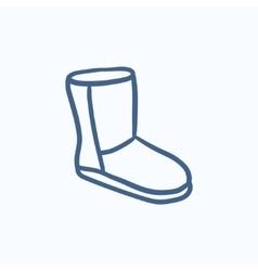 Fuzzy winter boot sketch icon vector image