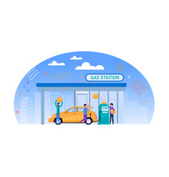 gas station flat money for fuel vector image