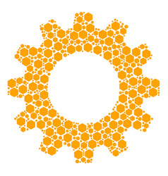 gearwheel collage of filled hexagon icons vector image